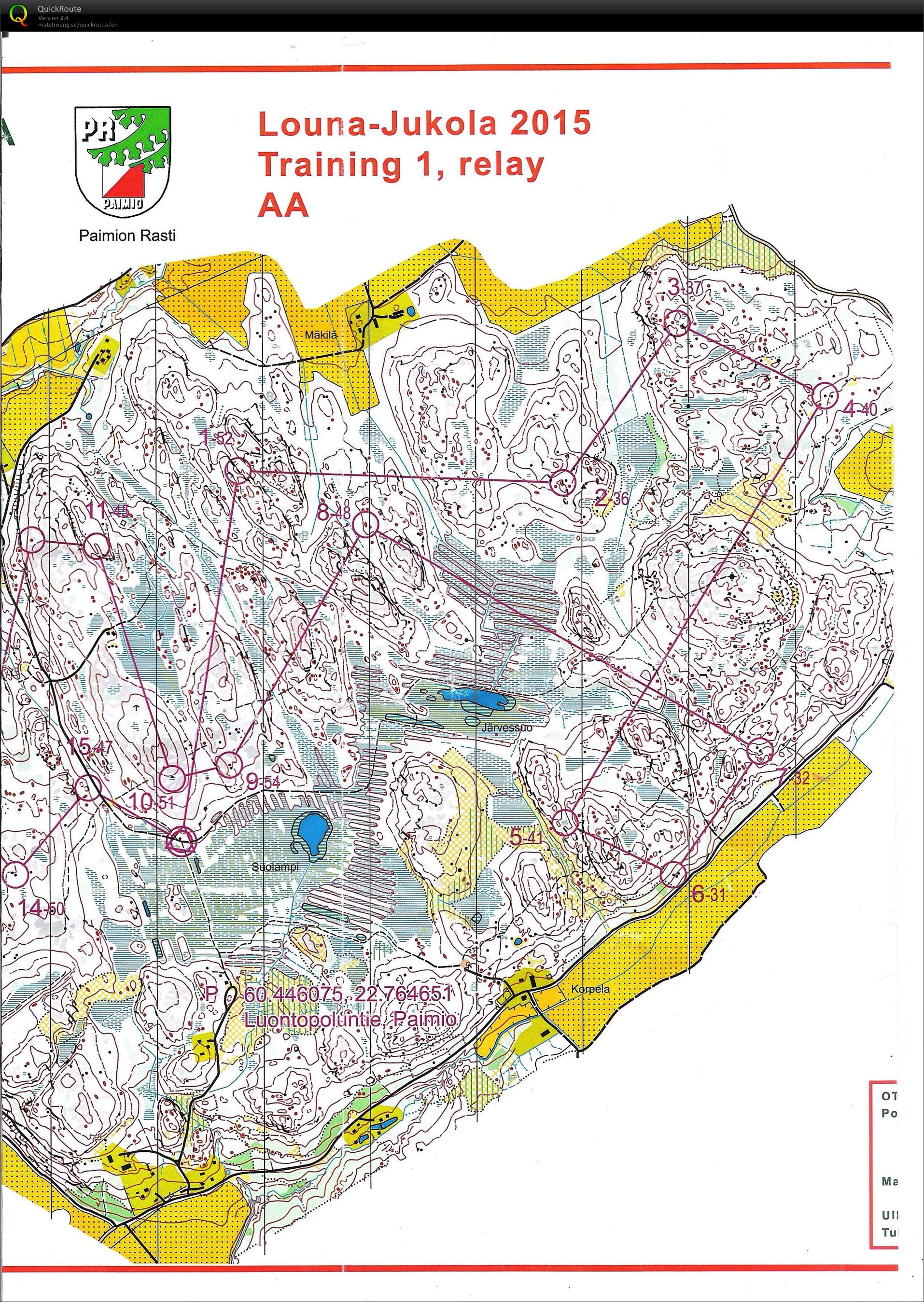 Jukola training #1 (2015-06-12)